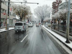$遺品整理宮城仙台@スマイルライフみやぎブログ-遺品整理現場に向かう途中、仙台市内に雪が